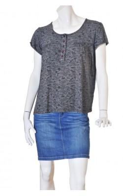 Tricou negru cu print alb Peppercorn, marime XL