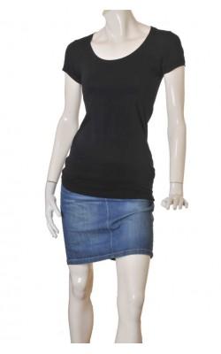 Tricou negru Modstrom, bumbac si modal, marime 36/38
