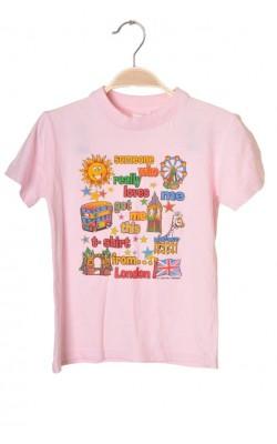 Tricou roz cu imprimeu Capital Kids, 5-6 ani
