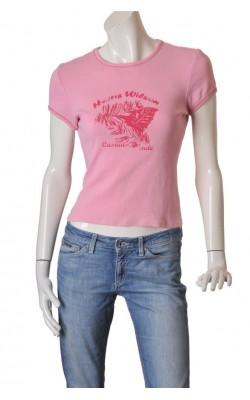 Tricou roz cu imprimeu Harris Wilson, marime M