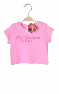 Tricou roz cu imprimeu Ladybird, 0-3 luni