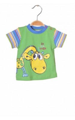 Tricou verde cu girafa Baby Code, 6 luni