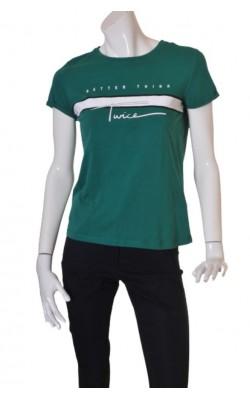 Tricou verde cu imprimeu alb FB Sister, marime M