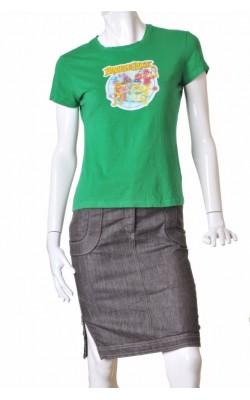 Tricou verde cu imprimeu Skinny Fit, marime M