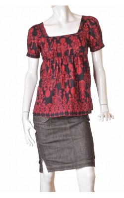 Tunica neagra print rosu H&M, marime 38
