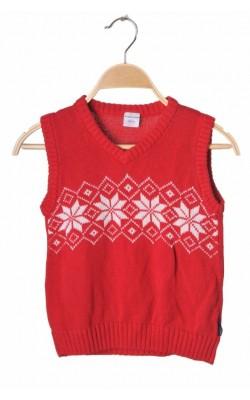 Vesta rosie tricot bumbac Polarn O.Pyret, 6 ani